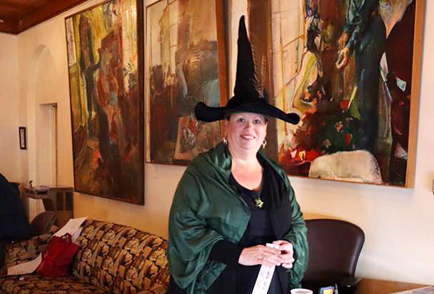 Photo of Theresa Law dressed as Hogwarts Professor Minerva McGonagall.